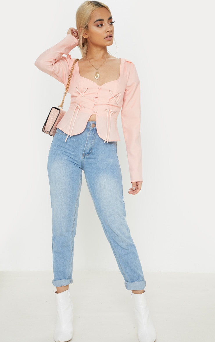 Petite Dusty Pink Long Sleeve Corset Blouse 4