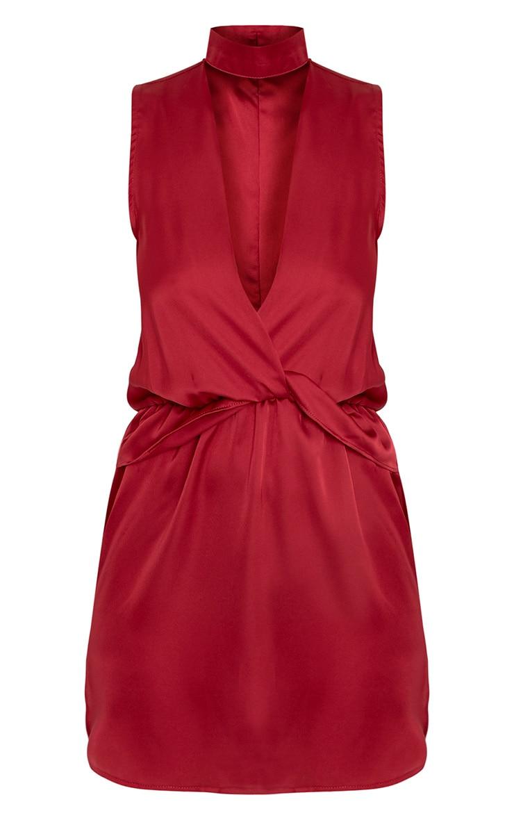 Kaitlyn Burgundy Satin Choker Twist Front Shift Dress  3