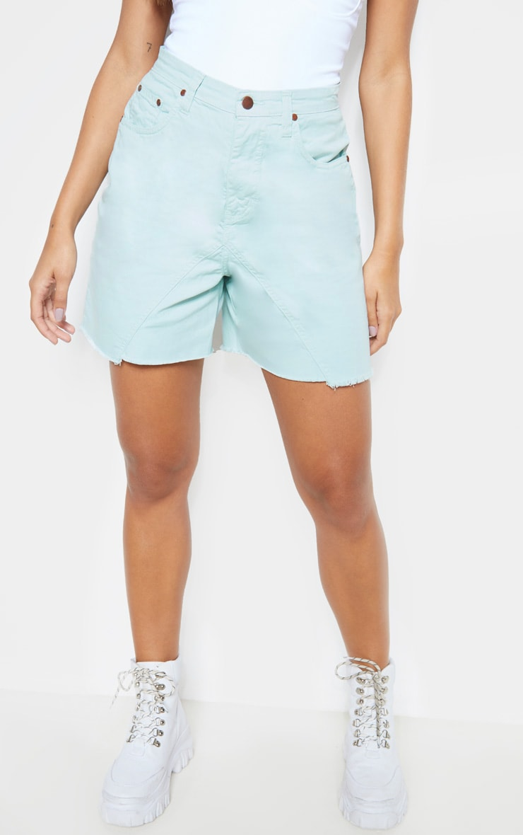 Mint Longline Denim Shorts 2