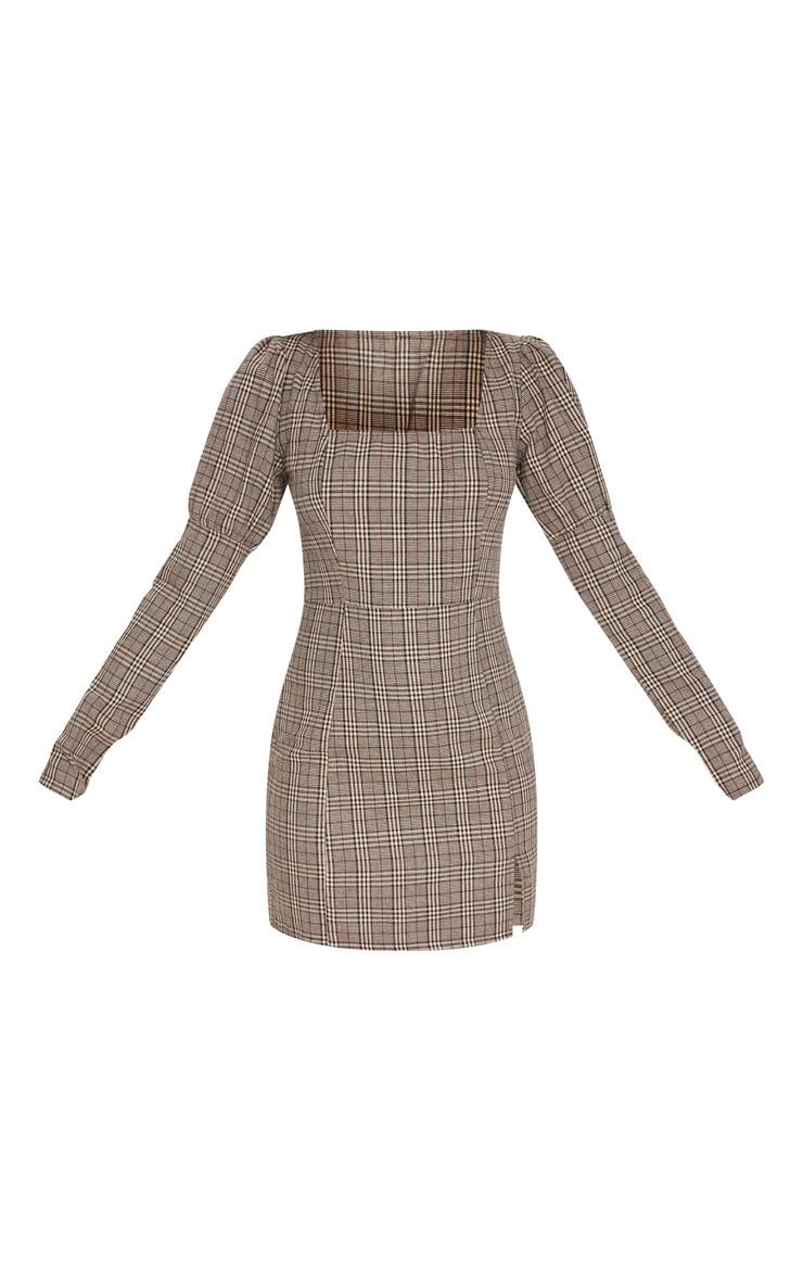 Beige Check Print Square Neck Side Split Shift Dress 3