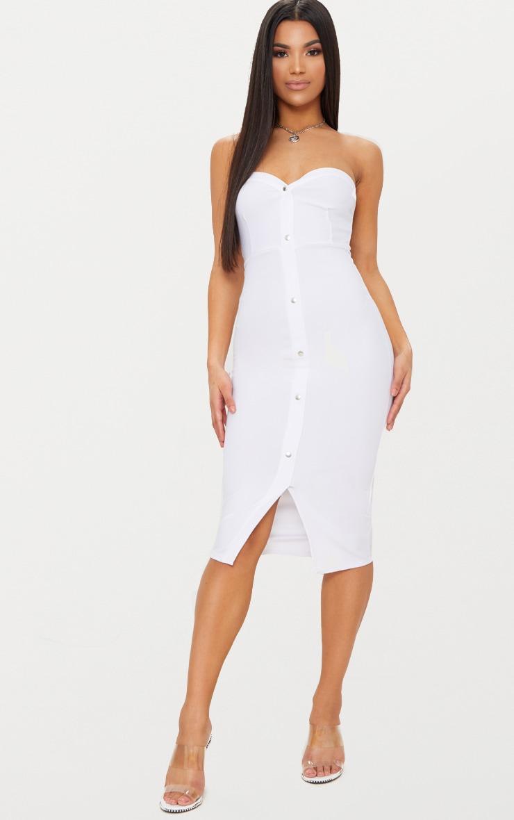 White Popper Detail Bandeau Midi Dress