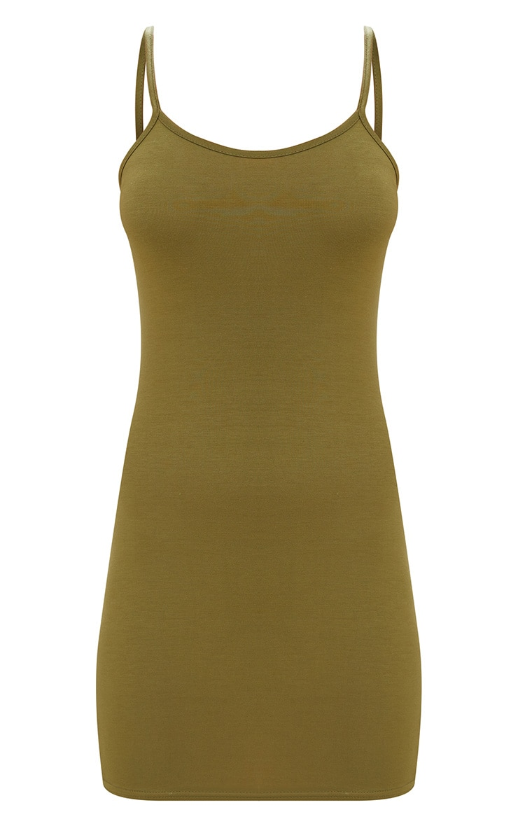 Olive Green Strappy Bodycon Dress 3