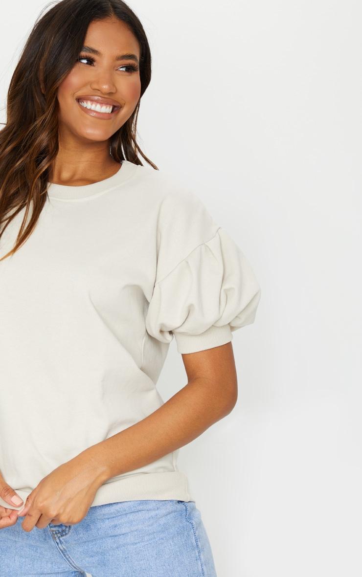Oatmeal Pleated Short Sleeve Sweatshirt 4