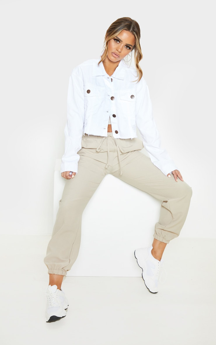 Petite White Raw Hem Cropped Denim Jacket 4