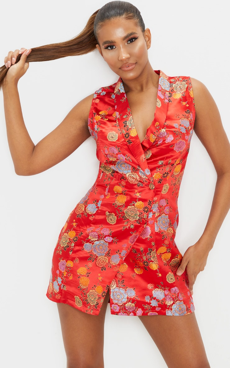 Red Jacquard High Collar Sleeveless Blazer Dress 1