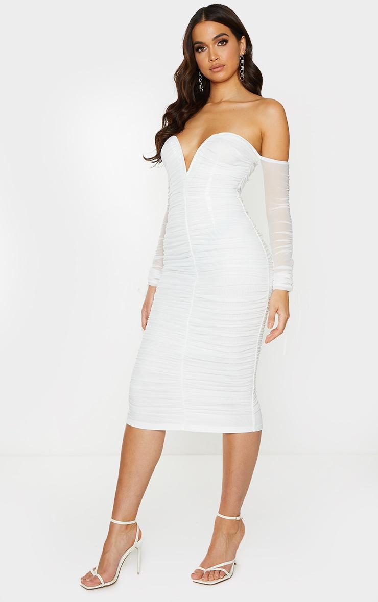 White Mesh V Bar Ruched Detail Bardot Midi Dress 3
