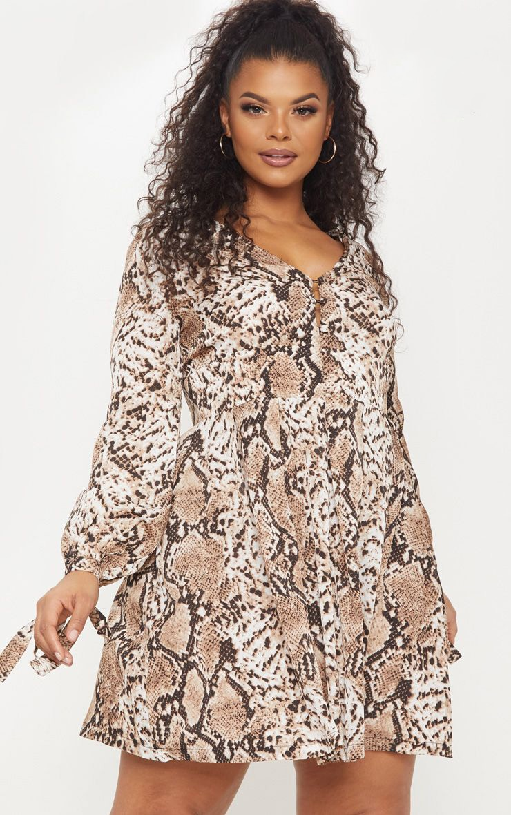 Plus Snake Print Taupe Button Detail Swing Dress 1
