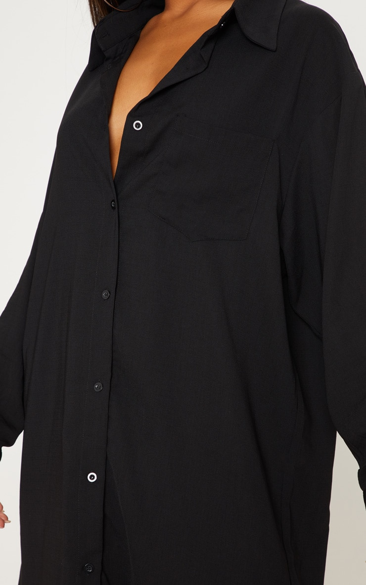 Black Oversized Boyfriend Shirt Dress 5