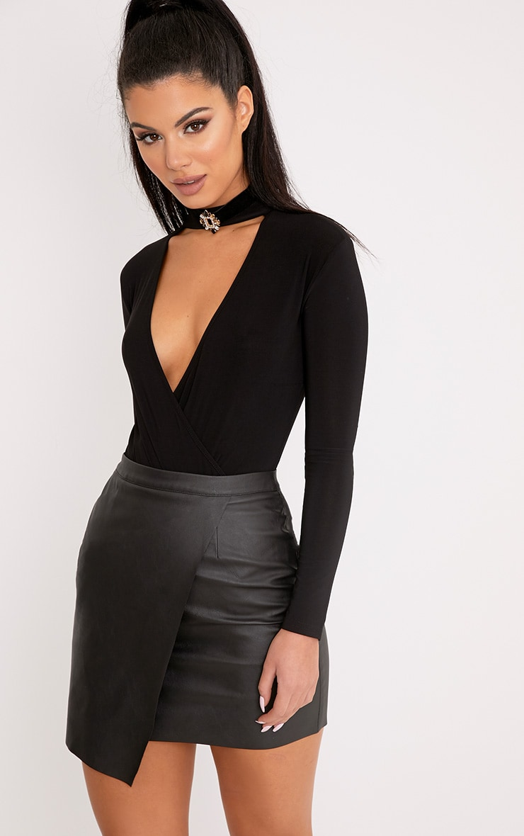 Luisa Black Faux Leather Wrap Mini Skirt  1