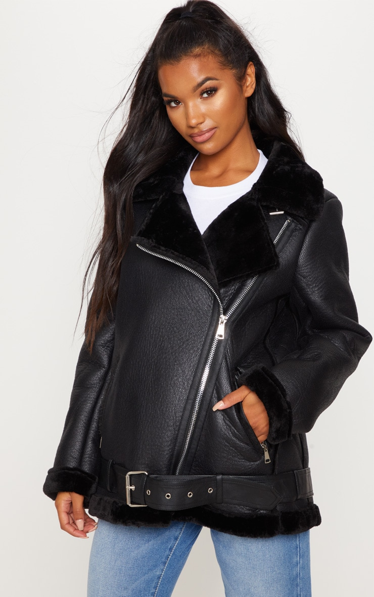 Black Oversized PU Aviator  4