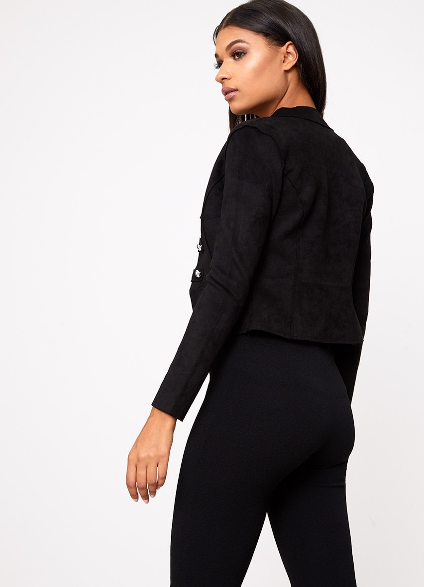 Black Faux Suede Military Jacket 2