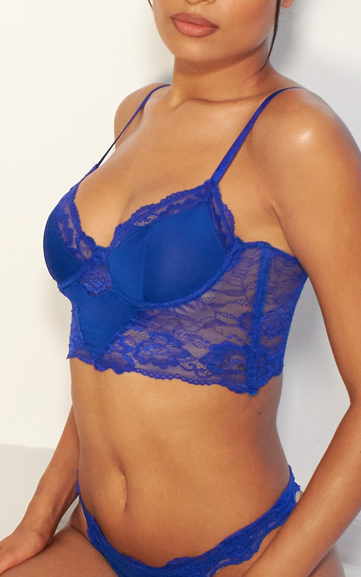 Cobalt Lace Underwired Bralet And Thong Lingerie Set 4