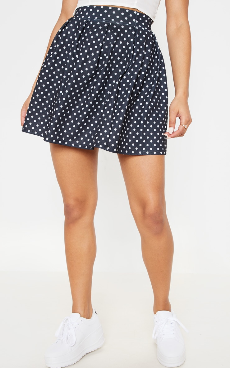 Black Polka Dot Print Pleated Waist Mini Skirt 2
