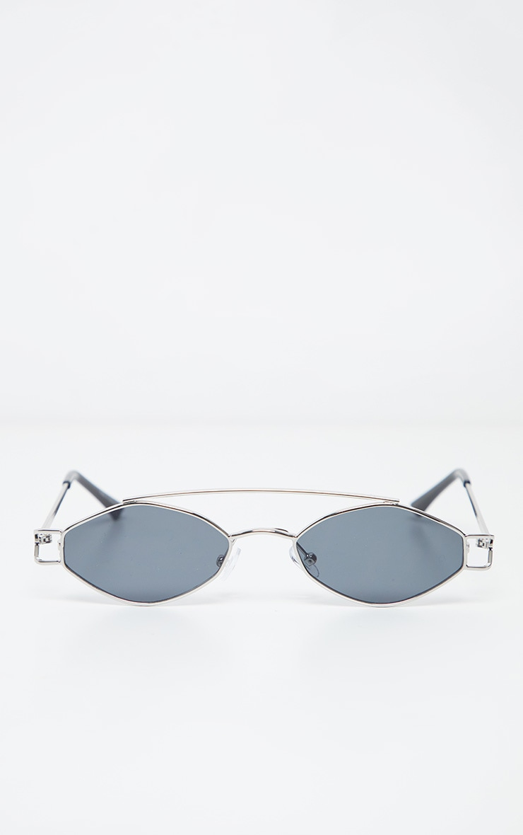 Black Lens Silver Frame Diamond Shape Retro Sunglasses 2