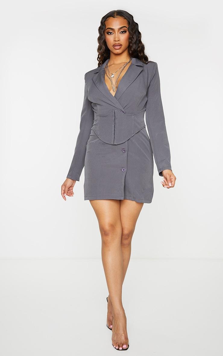 Charcoal Grey Tie Waist Corset Detail Blazer Dress 3