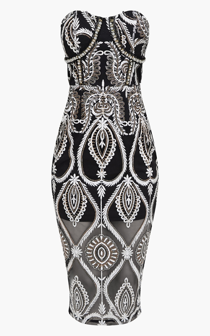Premium Black Sequin Embroidered Bandeau Midi Dress 4