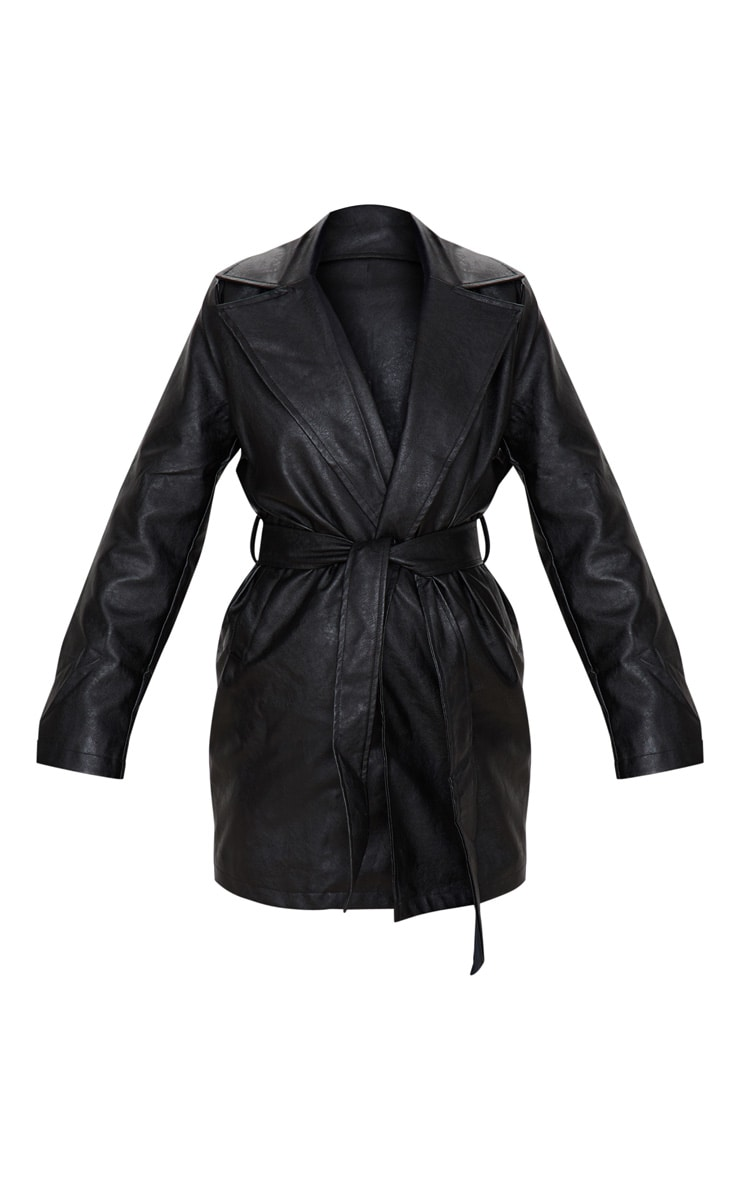 Black Faux Leather Tie Waist Shacket 3