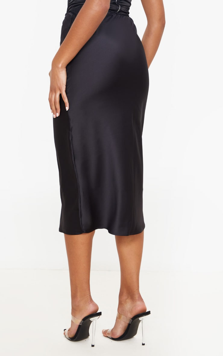 Black Satin Midi Skirt 3
