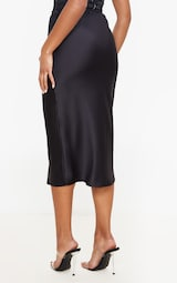 Black Satin Midi Skirt 3