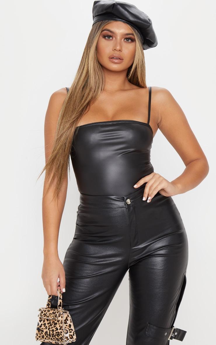 Black PU Strappy Square Neck Bodysuit