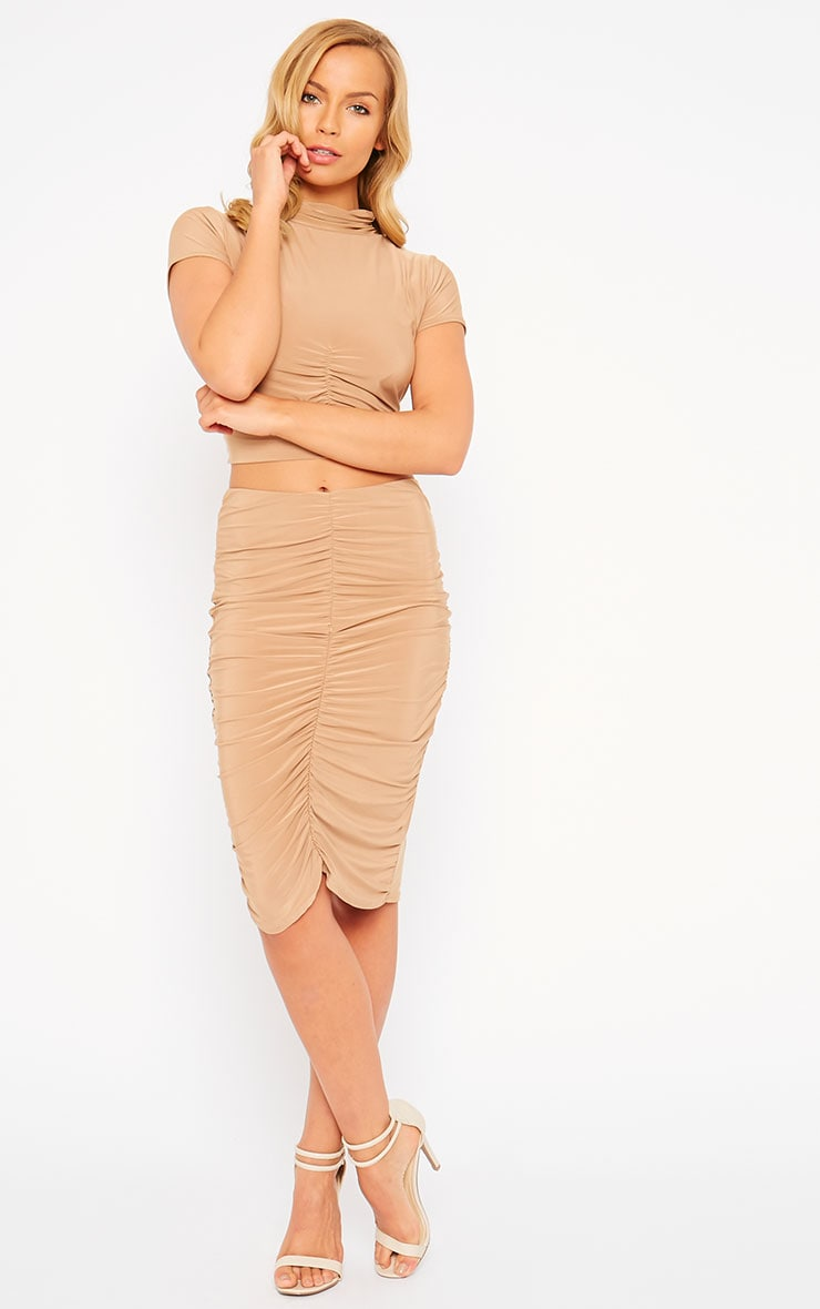 Gina Camel Slinky Ruched Detail Midi Skirt 1