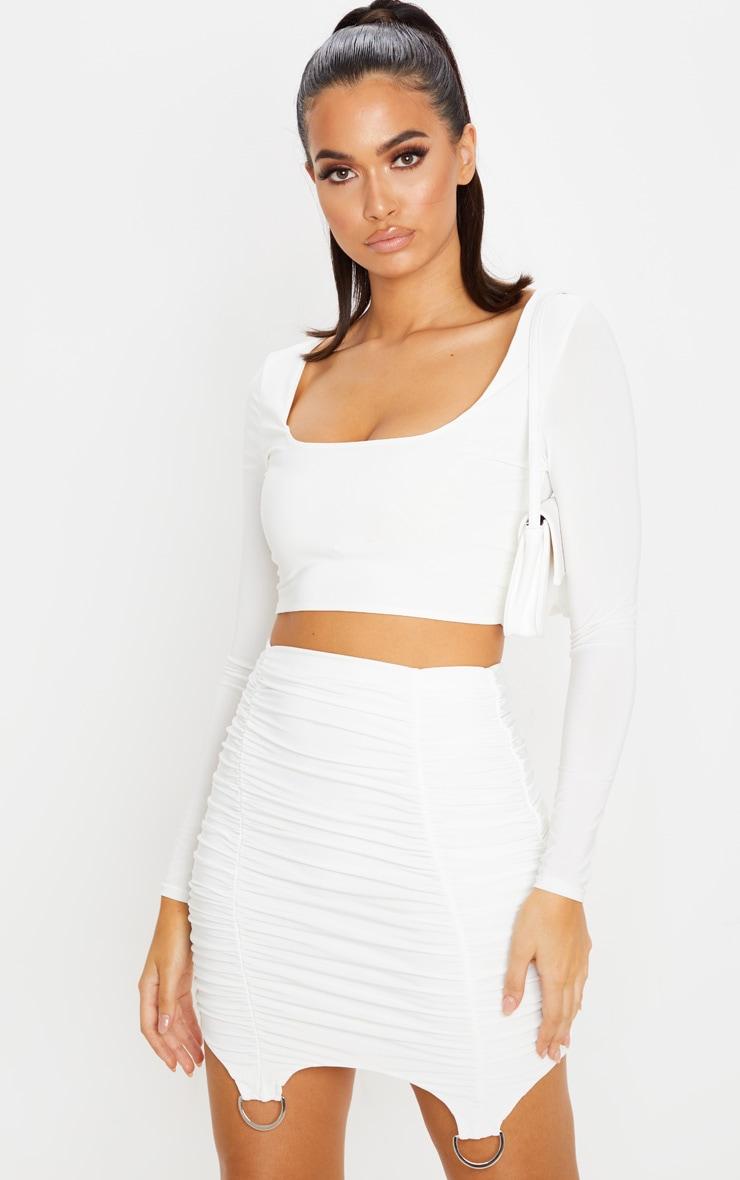 Cream Ruched Suspender Detail Mini Skirt  1