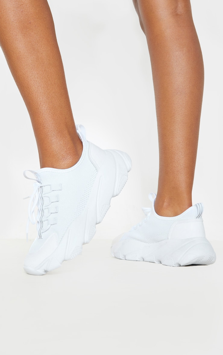 White Lace Up Sock Sneakers 2