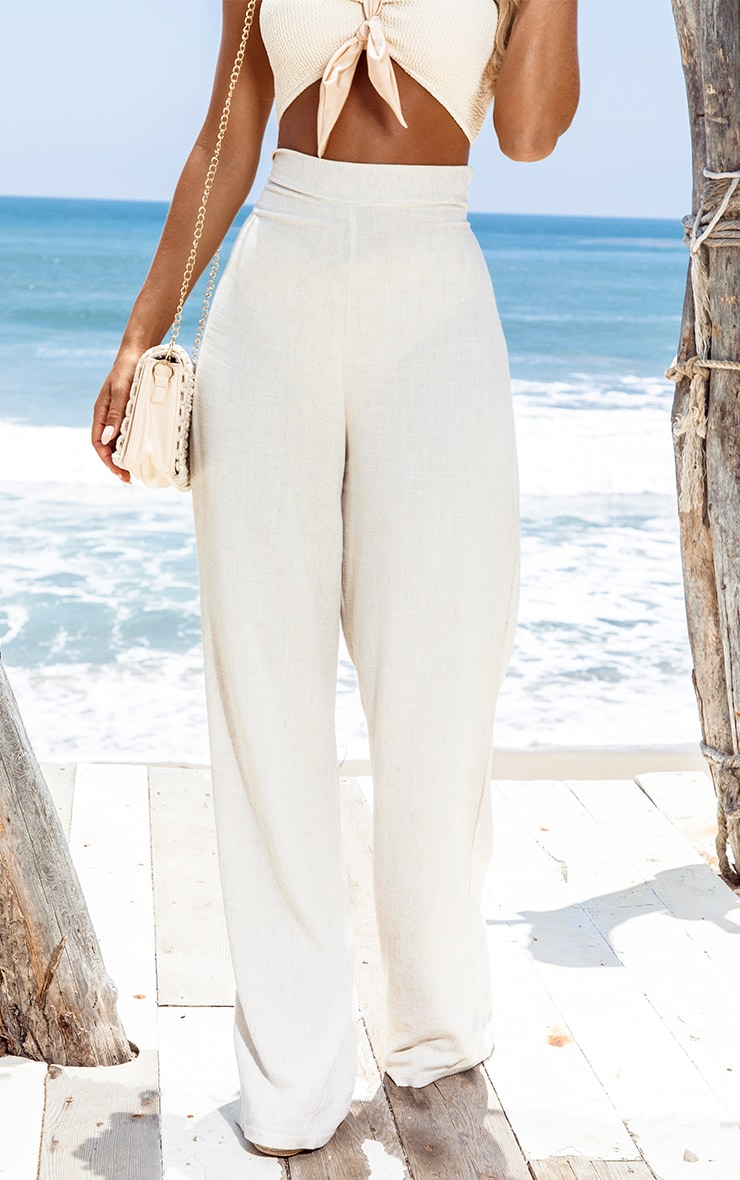 Sand Woven Wide Leg Trousers 2