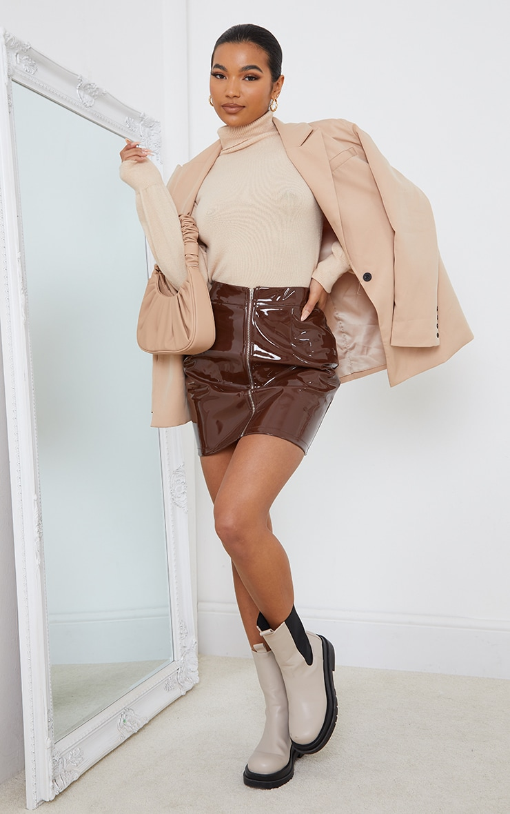 Chocolate Vinyl Mini Skirt 1