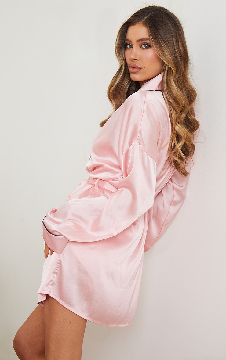 Pink Mix And Match Piped Detail Satin Robe 2
