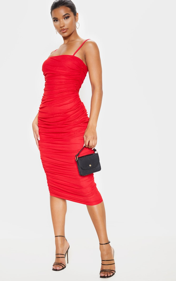 256f4365e34 Red Strappy Mesh Ruched Midaxi Dress