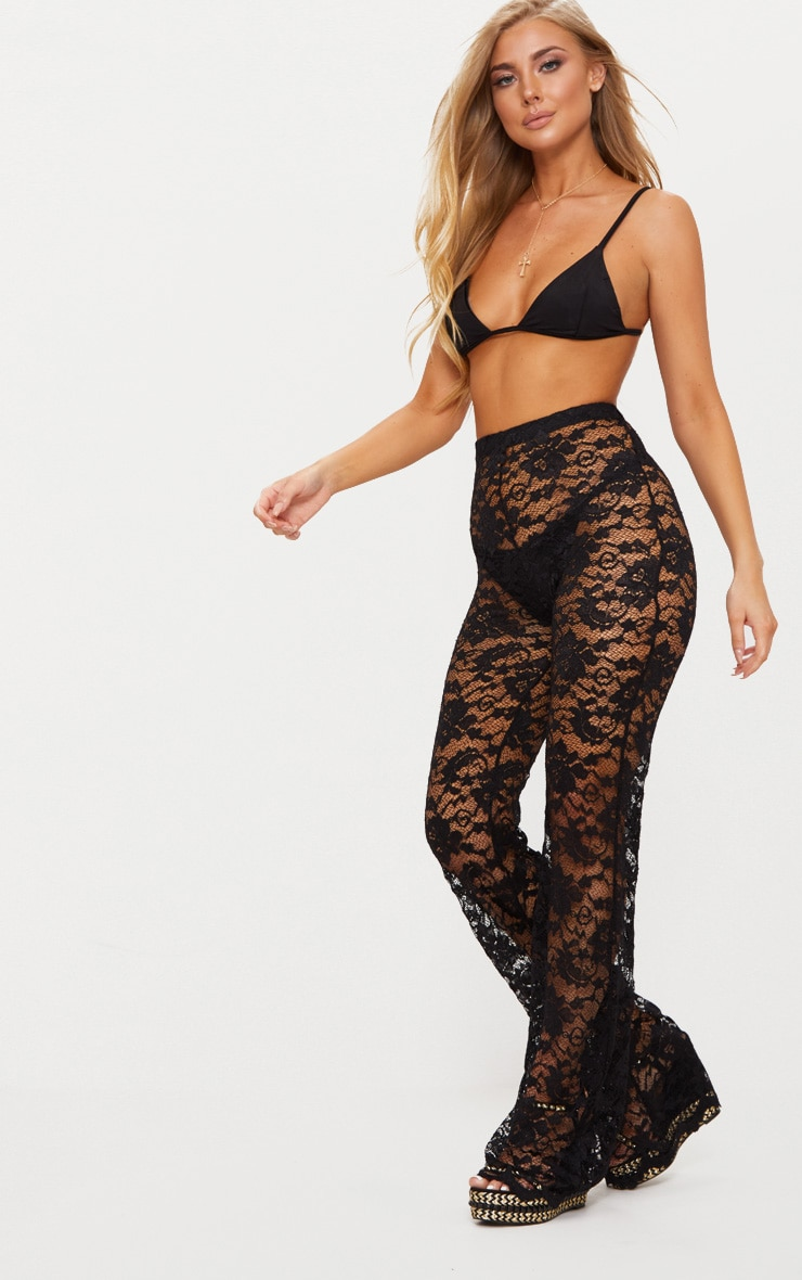Black Lace Scalloped Hem Beach Trousers 1