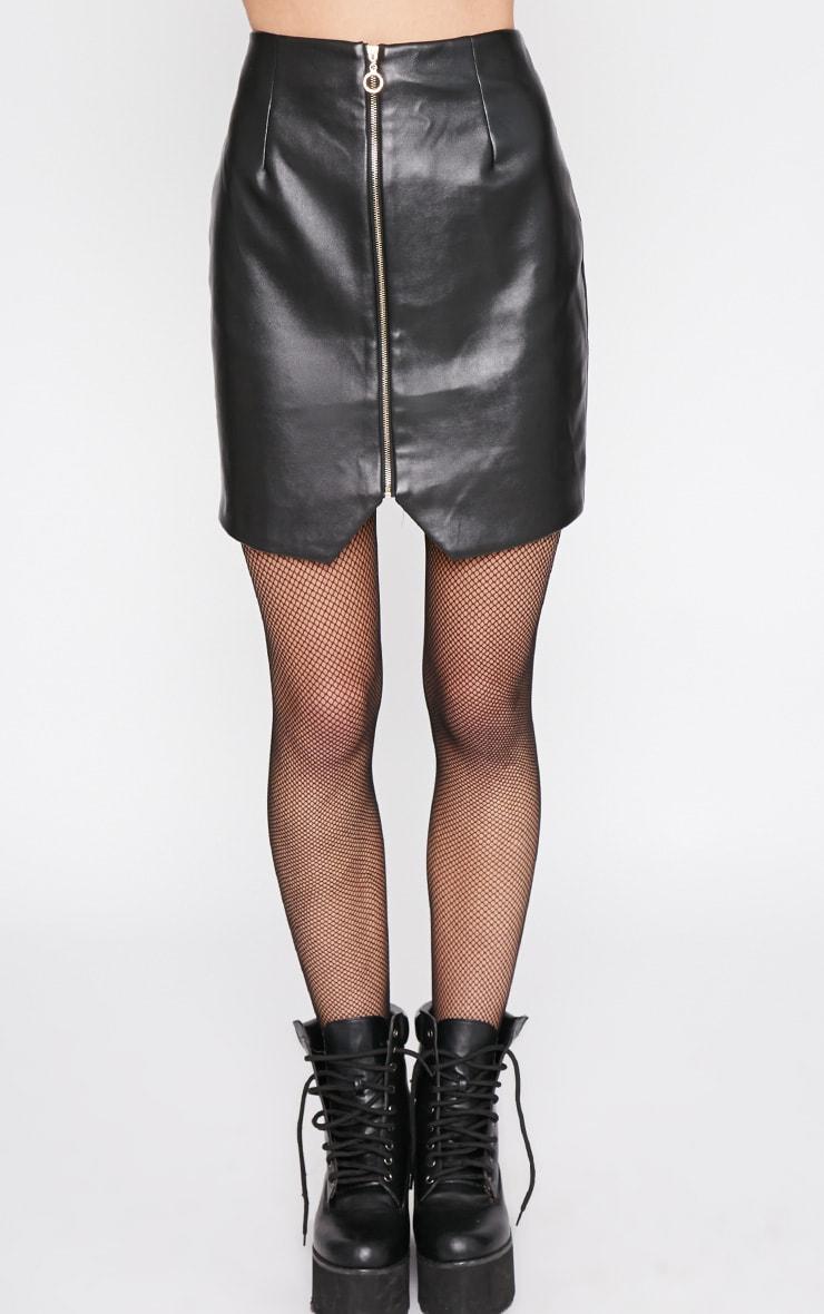 Wanda Black Zip Front Leather Mini Skirt 2