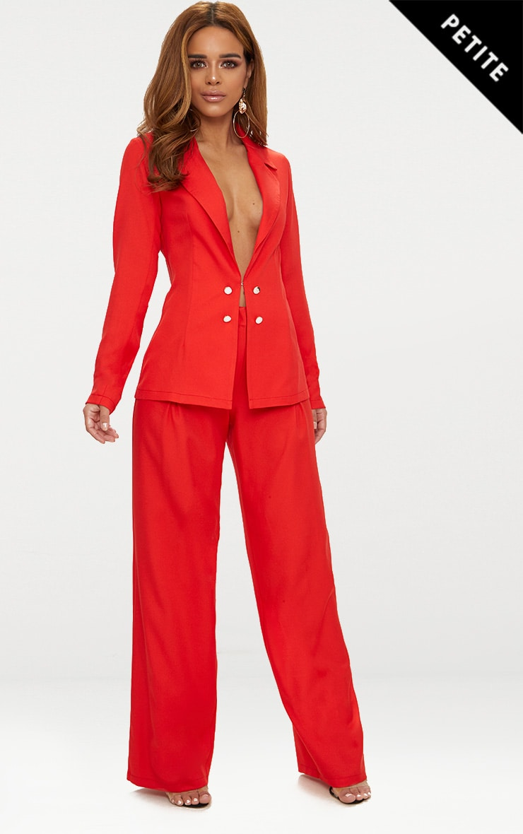 Petite Red Oversized Wide Leg Trousers 1