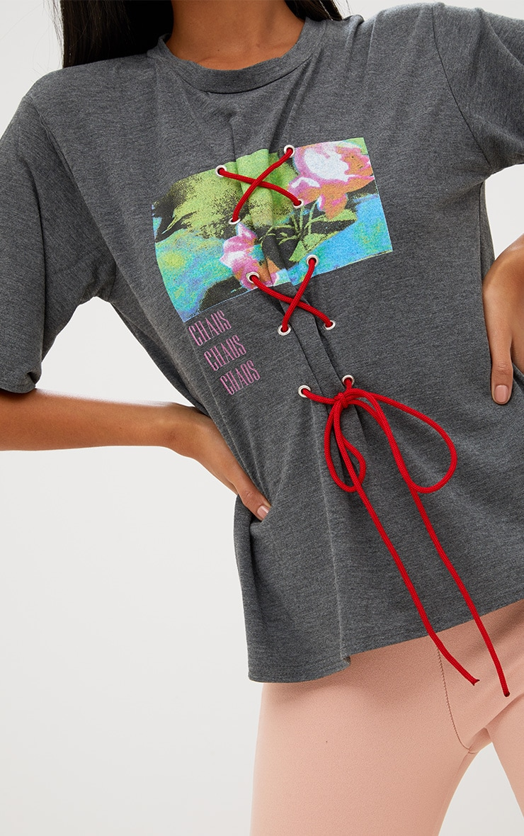 Charcoal Slogan Print Lace Up T Shirt 5
