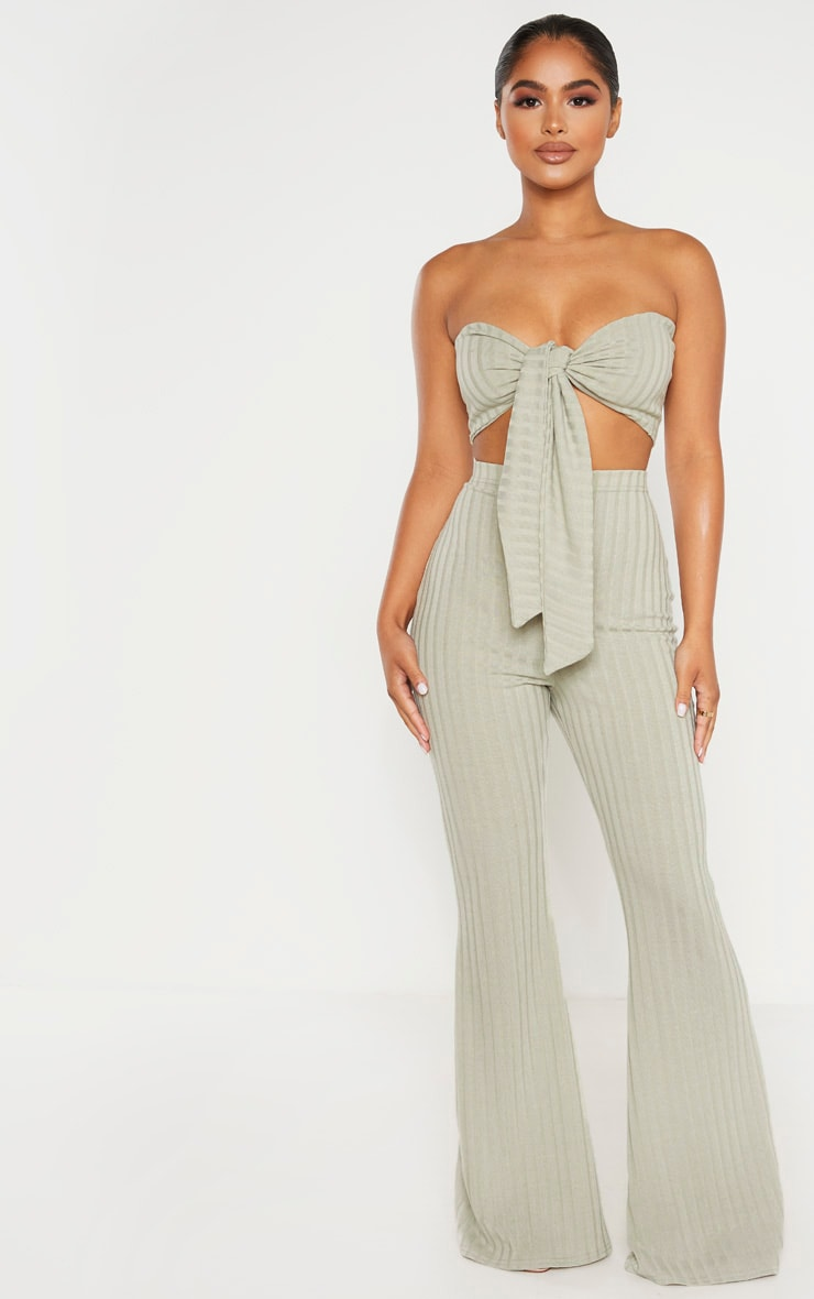 Petite Sage Green Ribbed Tie Front Bandeau Top 4