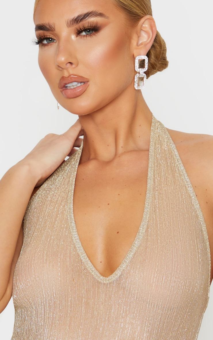 Gold Glitter Sheer Plisse Halterneck Bodysuit 5