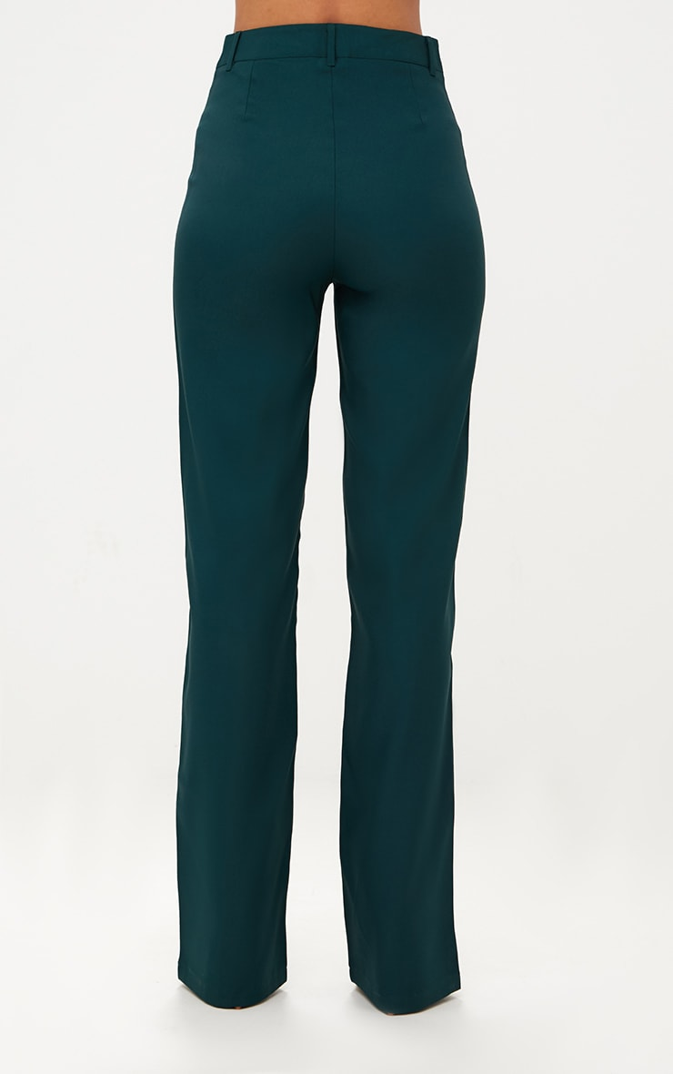 Emerald Green High Waisted Straight Leg Trousers 4