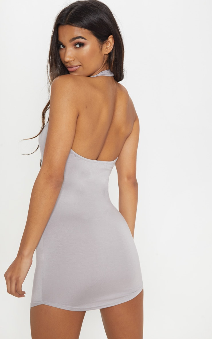 Basic Dove Grey Halterneck Bodycon Dress 2