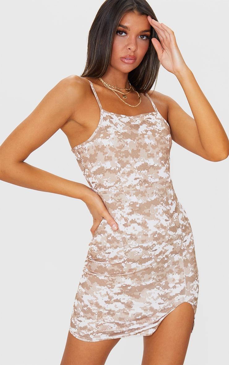 Beige Pixel Camo Print Rib Strappy Split Hem Bodycon Dress 1