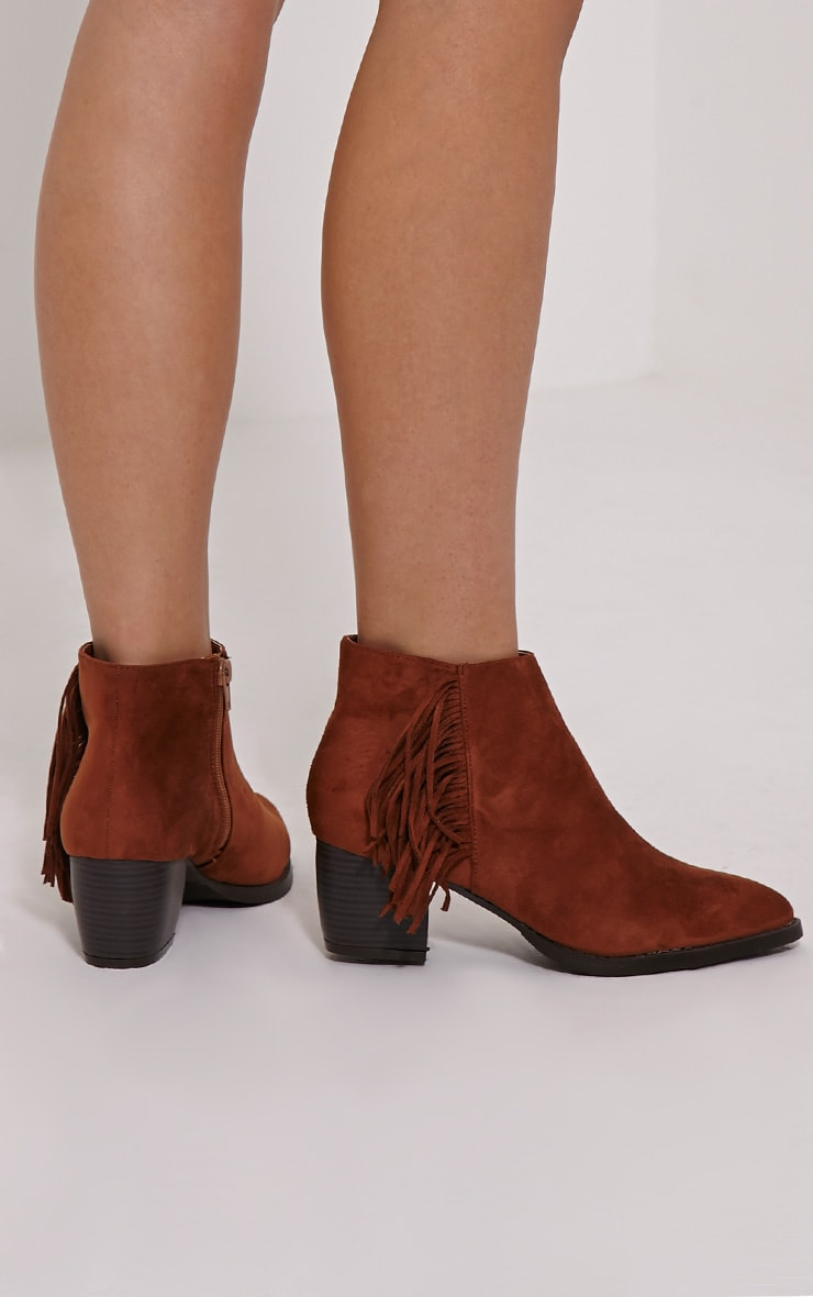 Cairo Tan Faux Suede Tassel Ankle Boots 2