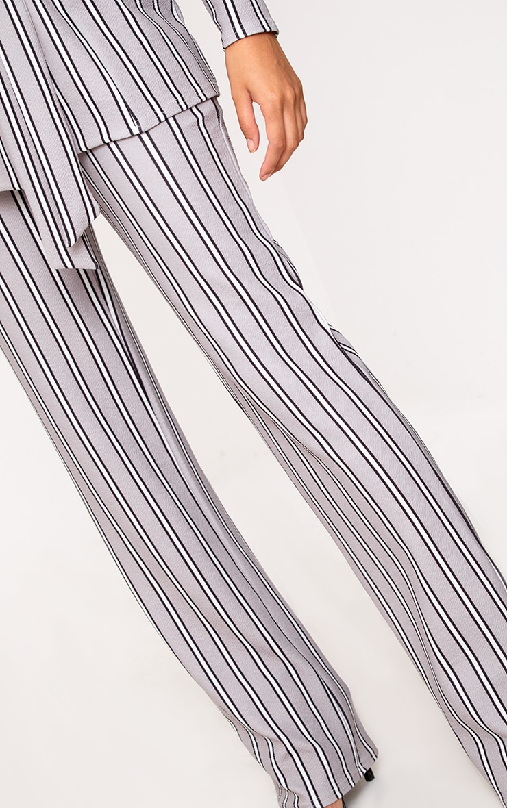 Grey Stripe Straight Leg Suit Trousers 4