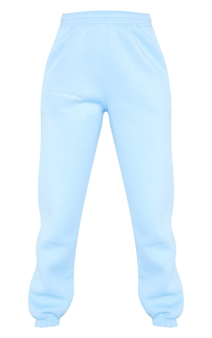 PRETTYLITTLETHING Pastel Blue Embroidered Jogger 3