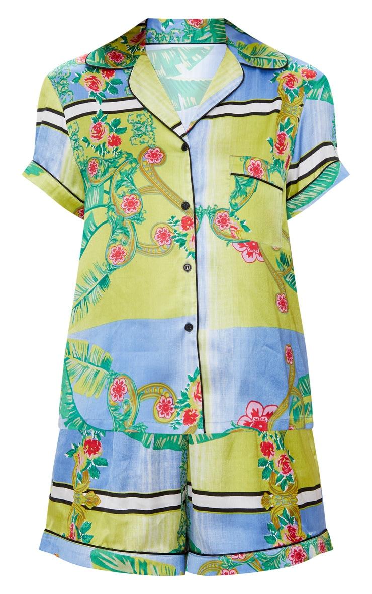 Green Palm Print Button Up Short Pyjama Set 3