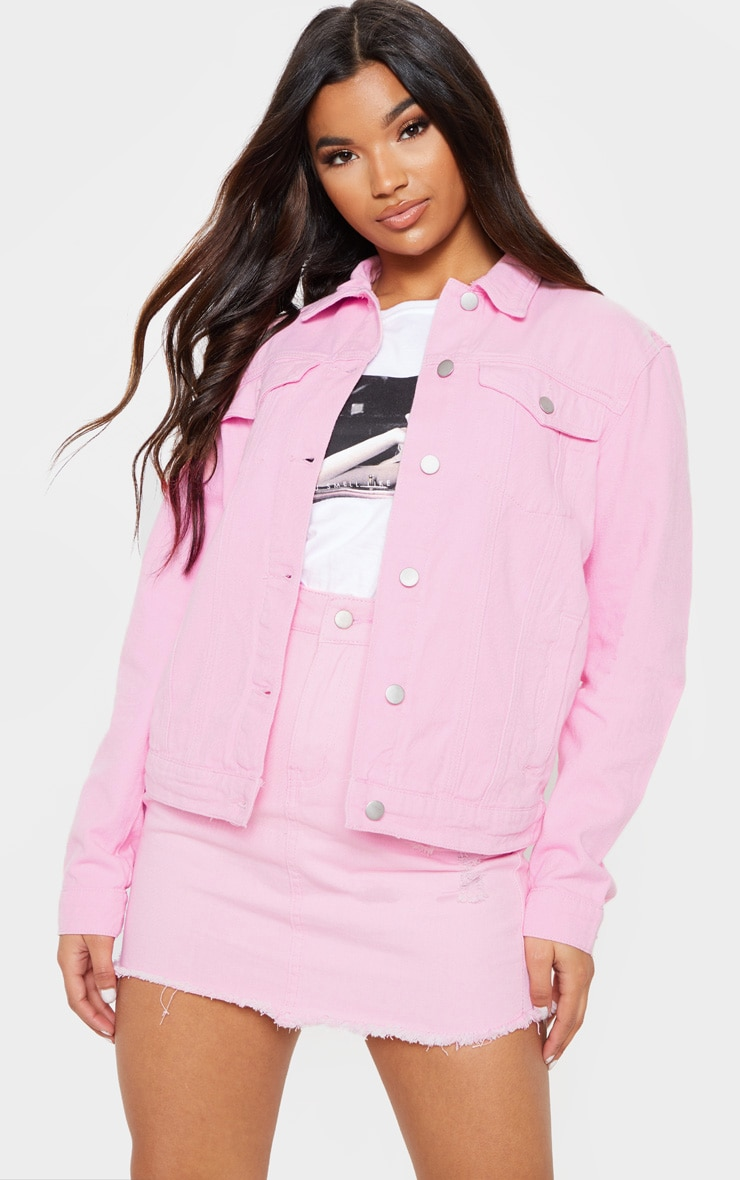 20534a011f Light Pink Distressed Denim Jacket image 1