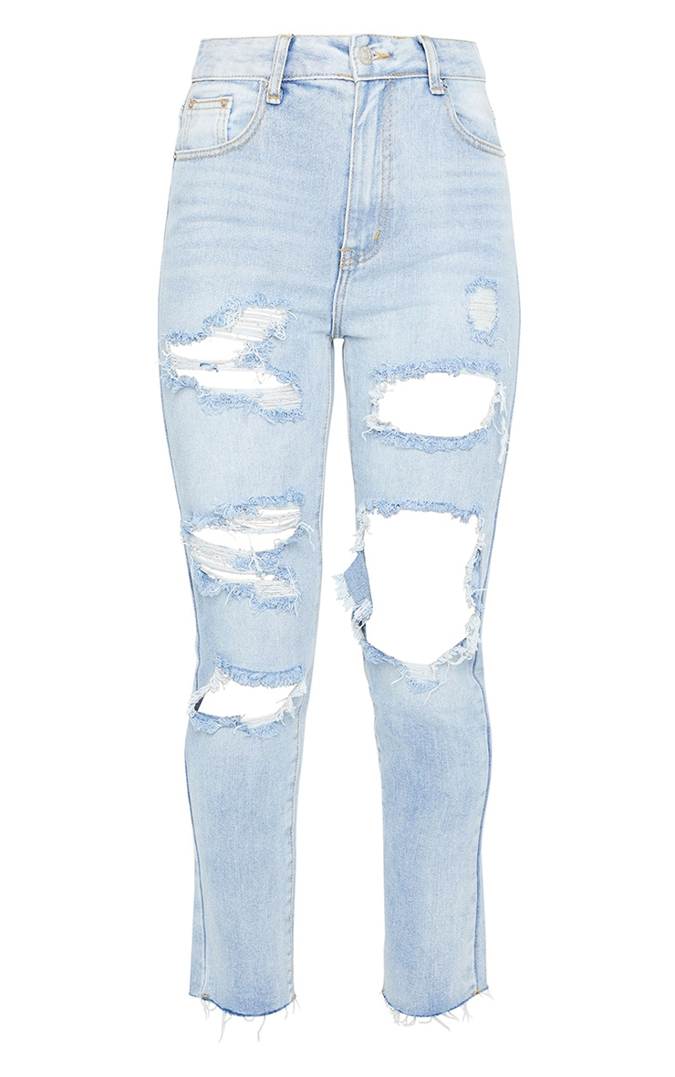 Light Wash Extreme Distressed Mom Jean 5