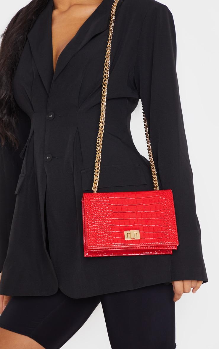 Red Patent Croc Flap Square Cross Body Bag 1