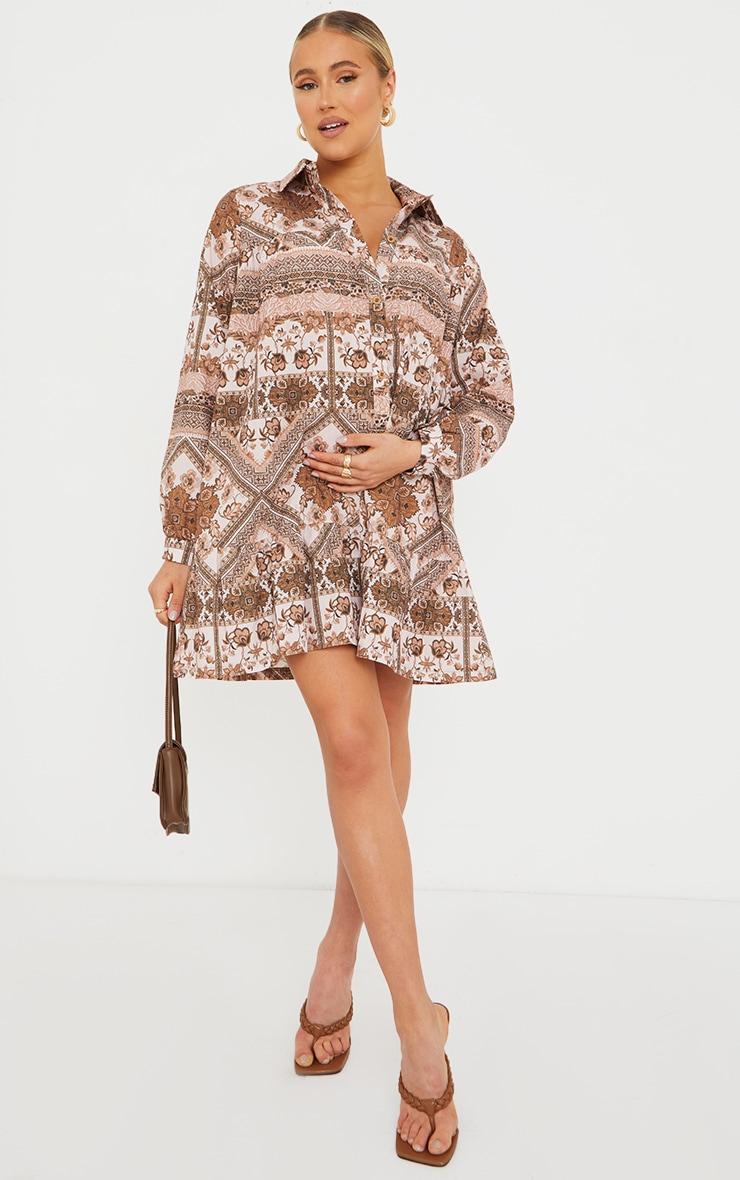 Maternity Brown Oversized Long Sleeve Smock Dress 3