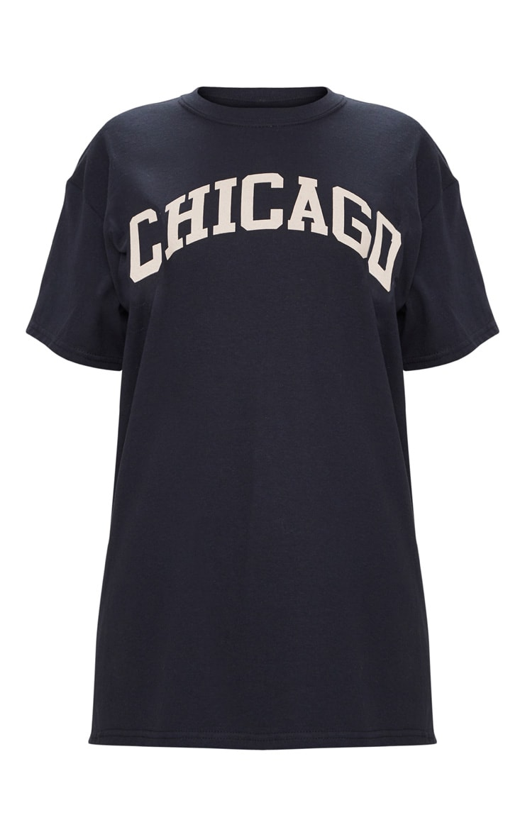 Black Chicago Slogan Oversized T Shirt 5