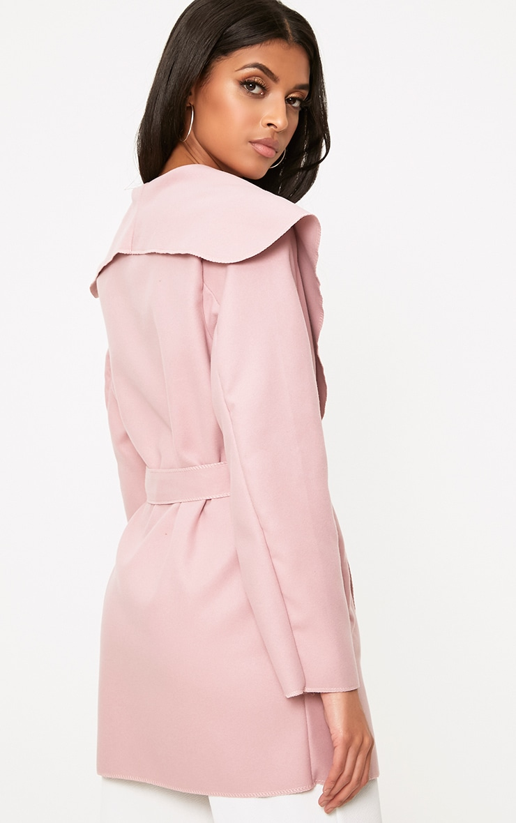 Pink Waterfall Belted Coat 2